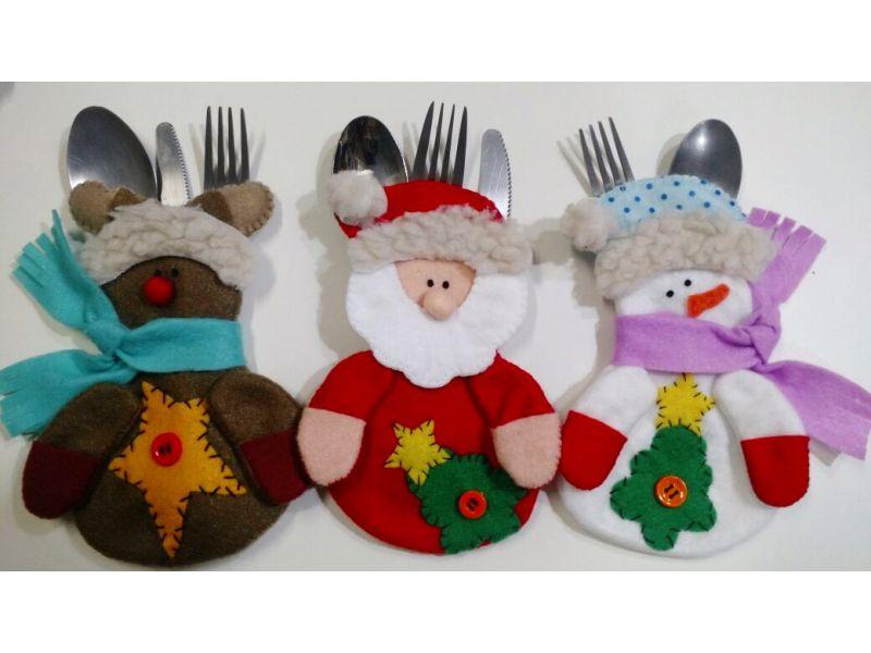 Porta Talheres - Noel, Rena e boneco de neve - PROJETO